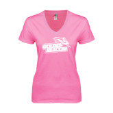 Next Level Ladies Junior Fit Deep V Pink Tee-Goldey-Beacom Official Logo