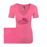 Next Level Ladies Vintage Pink Tri Blend V-Neck Tee-Goldey-Beacom Official Logo Glitter