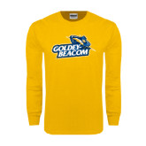Gold Long Sleeve T Shirt-Goldey-Beacom Official Logo Distressed