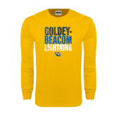 Gold Long Sleeve T Shirt-Goldey-Beacom Lightning Stacked