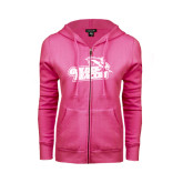 ENZA Ladies Fuchsia Fleece Full Zip Hoodie-Goldey-Beacom Official Logo