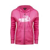 ENZA Ladies Fuchsia Fleece Full Zip Hoodie-Goldey-Beacom Official Logo