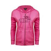 ENZA Ladies Fuchsia Fleece Full Zip Hoodie-Goldey-Beacom Official Logo Glitter