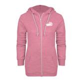 ENZA Ladies Hot Pink Marled Full Zip Hoodie-Goldey-Beacom Official Logo