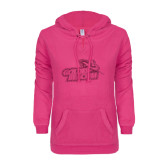ENZA Ladies Hot Pink V Notch Raw Edge Fleece Hoodie-Goldey-Beacom Official Logo Glitter
