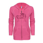 ENZA Ladies Hot Pink Light Weight Fleece Full Zip Hoodie-Goldey-Beacom Official Logo Glitter