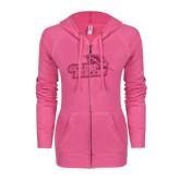 ENZA Ladies Hot Pink Light Weight Fleece Full Zip Hoodie-Goldey-Beacom Official Logo Glitter