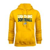 Gold Fleece Hoodie-Softball Stacked