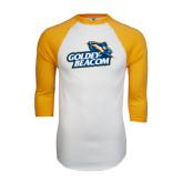 White/Gold Raglan Baseball T-Shirt-Goldey-Beacom Official Logo