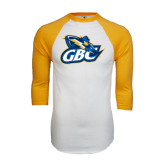 White/Gold Raglan Baseball T-Shirt-GBC