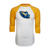 White/Gold Raglan Baseball T-Shirt-Lightning Man