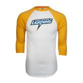 White/Gold Raglan Baseball T-Shirt-Goldey-Beacom Lightning