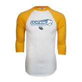 White/Gold Raglan Baseball T-Shirt-Baseball Ball Design