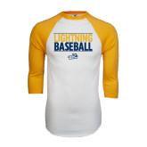 White/Gold Raglan Baseball T-Shirt-Baseball Stacked