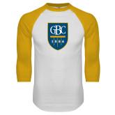 White/Gold Raglan Baseball T Shirt-GBC Shield