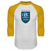 White/Gold Raglan Baseball T Shirt-GBC Shield with School Name
