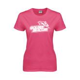 Ladies Fuchsia T Shirt-Goldey-Beacom Official Logo