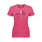 Ladies Fuchsia T Shirt-Goldey-Beacom Official Logo Foil