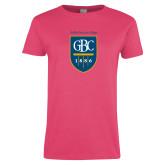 Ladies Fuchsia T Shirt-GBC Shield with School Name