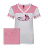 Ladies White/Bright Pink Juniors Varsity V Neck Tee-Goldey-Beacom Official Logo Foil