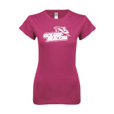 Ladies SoftStyle Junior Fitted Fuchsia Tee-Goldey-Beacom Official Logo