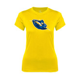 Ladies Syntrel Performance Gold Tee-Lightning Man