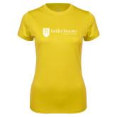 Ladies Syntrel Performance Gold Tee-Goldey Beacom College Horizontal