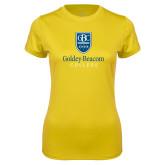 Ladies Syntrel Performance Gold Tee-Goldey Beacom College Vertical