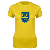 Ladies Syntrel Performance Gold Tee-GBC Shield with School Name