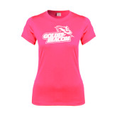 Ladies Performance Hot Pink Tee-Goldey-Beacom Official Logo