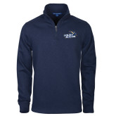 Navy Slub Fleece 1/4 Zip Pullover-Goldey-Beacom Official Logo