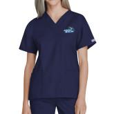 Ladies Navy Two Pocket V Neck Scrub Top-Goldey-Beacom Official Logo