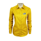 Ladies Gold Twill Button Down Long Sleeve-Goldey-Beacom Official Logo