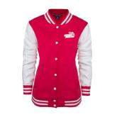 Ladies Pink Raspberry/White Fleece Letterman Jacket-Goldey-Beacom Official Logo