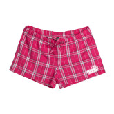 Ladies Dark Fuchsia/White Juniors Flannel Plaid Boxer-Goldey-Beacom Official Logo