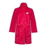 Ladies Pink Raspberry Plush Microfleece Shawl Collar Robe-Goldey-Beacom Official Logo