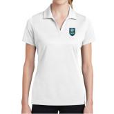 Ladies White Dry Mesh Polo-GBC Shield