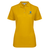 Ladies Easycare Gold Pique Polo-Goldey Beacom College Vertical