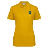 Ladies Easycare Gold Pique Polo-GBC Shield