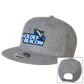 Heather Grey Wool Blend Flat Bill Snapback Hat-Goldey-Beacom Official Logo