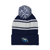 Navy/White Two Tone Knit Pom Beanie with Cuff-Lightning Man