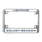 Metal Motorcycle License Plate Frame in Chrome-Lightning