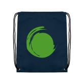 Navy Drawstring Backpack-Green Dot
