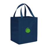 Non Woven Navy Grocery Tote-Green Dot