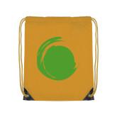 Gold Drawstring Backpack-Green Dot