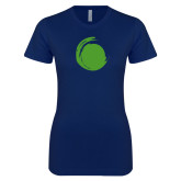 Next Level Ladies SoftStyle Junior Fitted Navy Tee-Green Dot