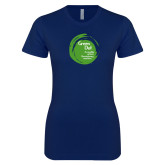 Next Level Ladies SoftStyle Junior Fitted Navy Tee-Tagline Inside