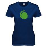 Ladies Navy T Shirt-Green Dot