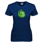 Ladies Navy T Shirt-Tagline Inside