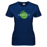 Ladies Navy T Shirt-Text Across Design